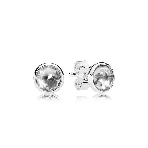 Pandora April Sterling Silver Earring Studs Droplets with Rock Crystal 290738RC