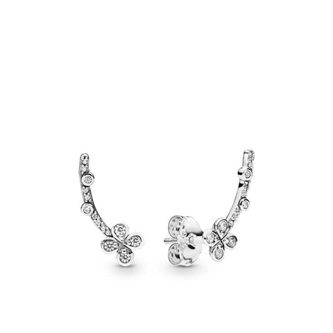 Pandora Sterling Silver Draped Four-Petal Flowers Earrings with CZ 297936CZ