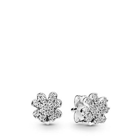 Pandora Sterling Silver Radiant Clovers Stud Earrings with CZ 297944CZ