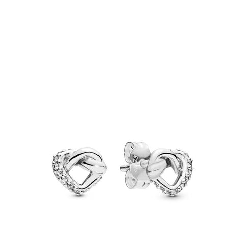 Pandora Knotted Heart Stud Earrings in Sterling Silver 298019CZ