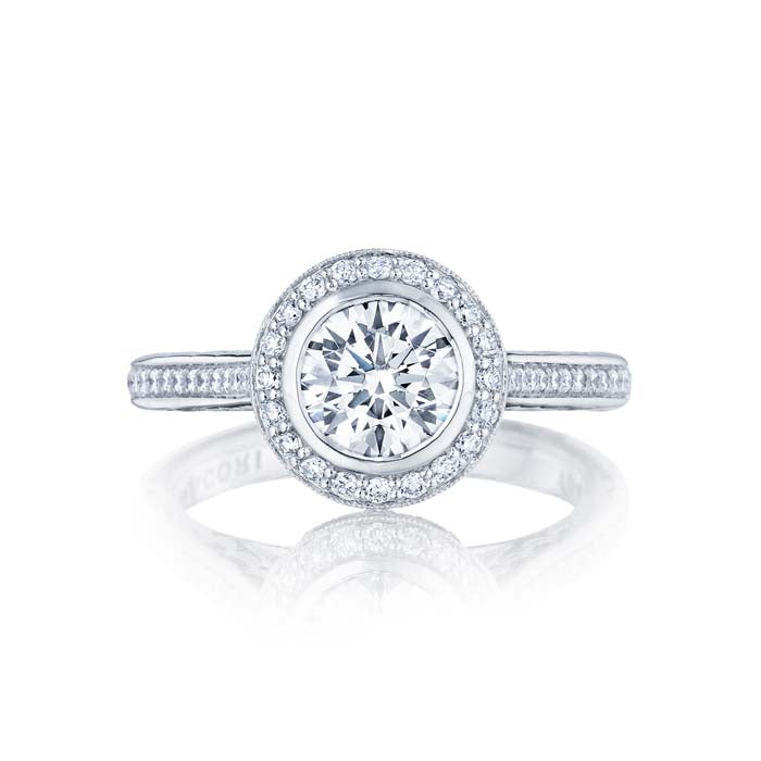 Tacori Starlit Engagement Ring Semi Mount in 18K White Gold with Diamonds