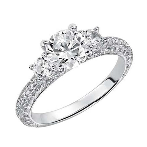 Goldman .29CTW Three Stone Engagement Ring Semi Mount in 14K White Gold