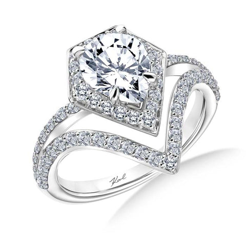 Karl Lagerfeld Perspective 1.03ctw Engagement Ring Semi Mount with Diamond Kite Halo (for 1.5ct Pear Shape) and Diamonds on the Shoulder in 18K White Gold
