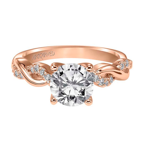 "Artcarved ""Kelsey"" .16TW Engagement Ring Semi-Mounting in 14K Rose Gold"