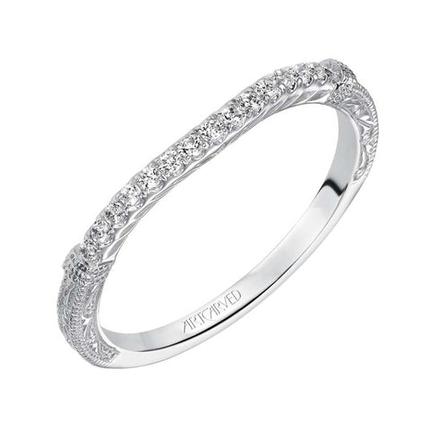 "Artcarved ""Angelina"" .12TW Diamond Curved Wedding Band in 14K White Gold"
