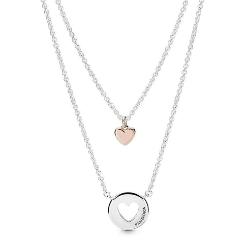 "Pandora 19.7"" Layered Heart Necklace in Pandora Rose and Sterling Silver 388083-50"