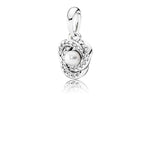 Pandora Luminous Love Knot Pendant in Sterling Silver with White Crystal Pearl and Clear CZs, 390401WCP