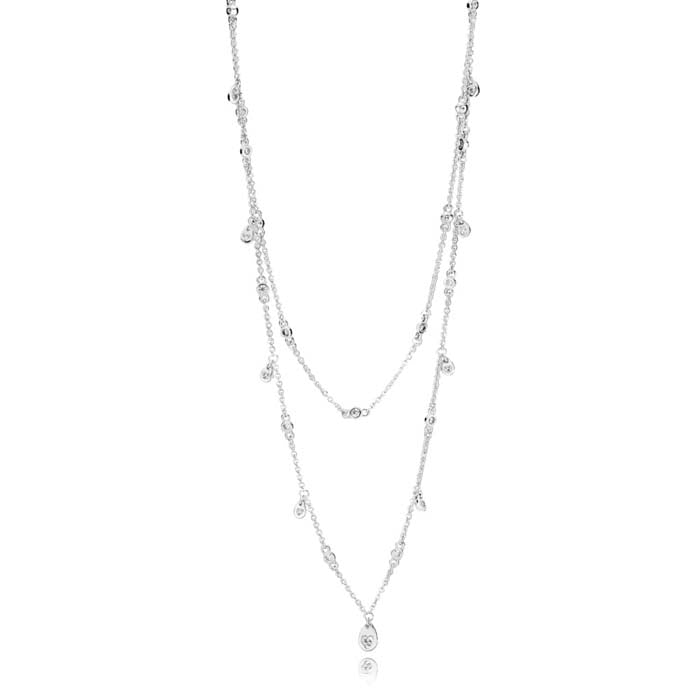 Pandora Chandelier Droplets Station Necklace in Sterling Silver, 397084CZ-45
