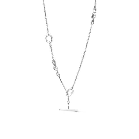 "Pandora 35.4"" Knotted Heart Station Necklace in Sterling Silver 398080-90"