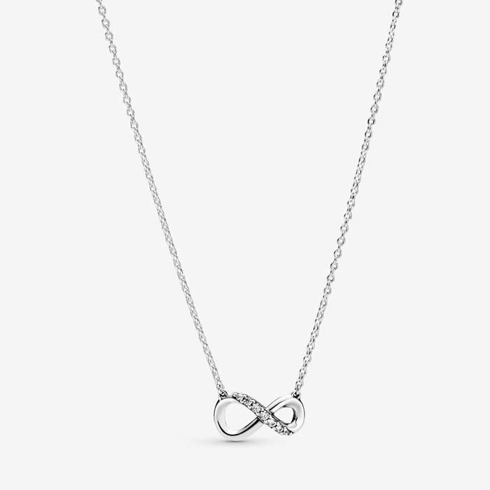 "Pandora 19.6"" Sparkling Infinity Necklace S/S w/Clear CZ on S/S chain 398821C01-50"