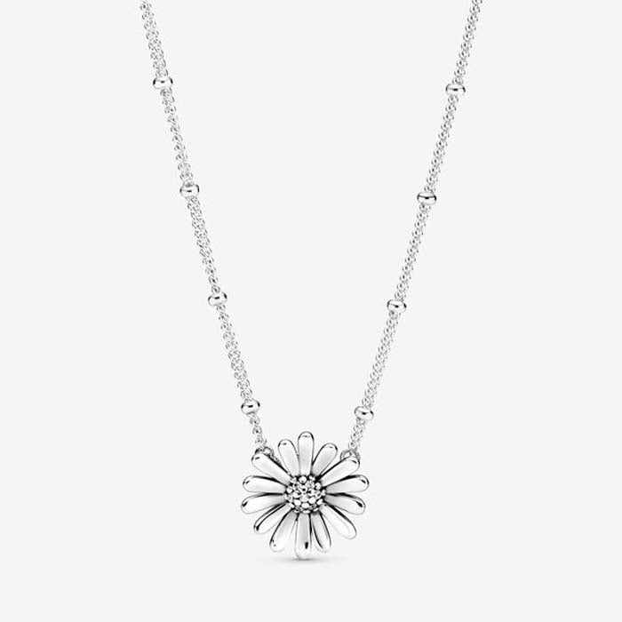 "Pandora 17.7"" Pave Daisy Flower Necklace in Sterling Silver 398964C01-45"