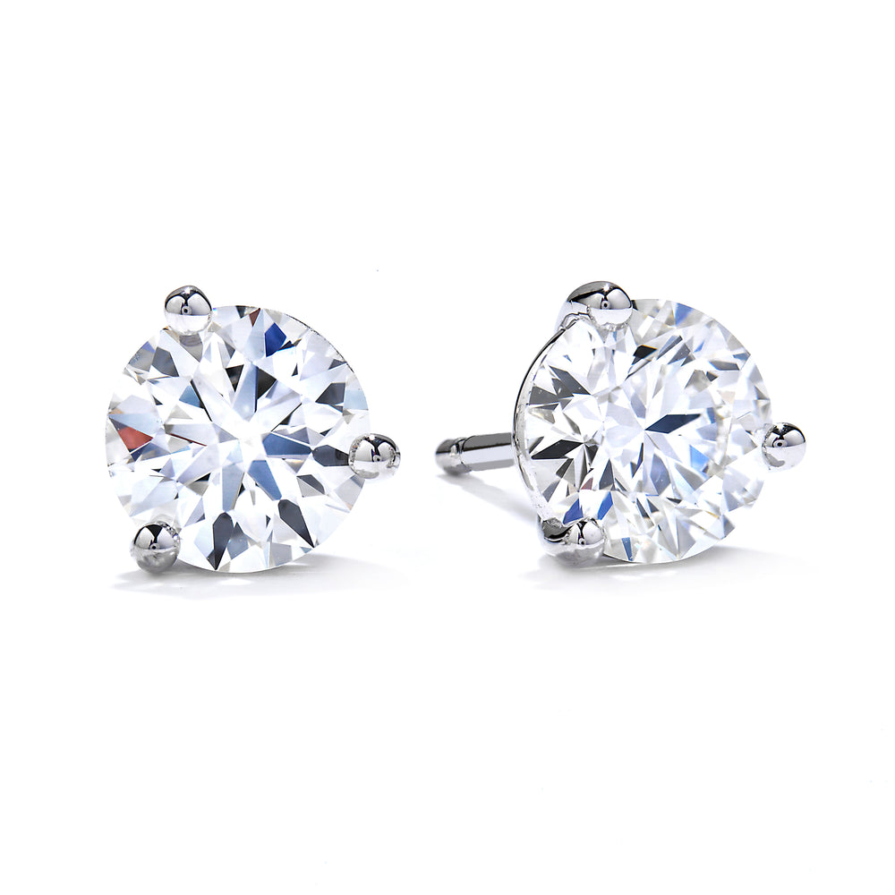 Mountz Collection .48-.54TW Round Diamond 3 Prong Stud Earrings in 14K White Gold with Posts and Push Backs