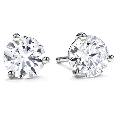 Hearts on Fire .30-.37CTW Diamond Three-Prong Stud Earrings, 18K White Gold