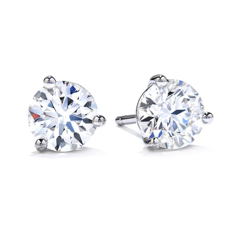 Mountz Collection 2.00TW Round Diamond 3 Prong Stud Earrings in 14K White Gold