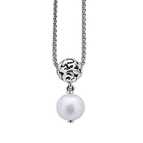 Charles Krypell Ivy Collection Pearl Drop and Sterling Silver Ball Necklace