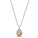 Charles Krypell Ivy Lace Collection Pear Shaped Sterling Silver and 18K Yellow Gold Pendant