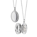 "Monica Rich Kosann Four Image Midi Locket with White Sapphire on 32"" Adjustable Chain Sterling Silver"