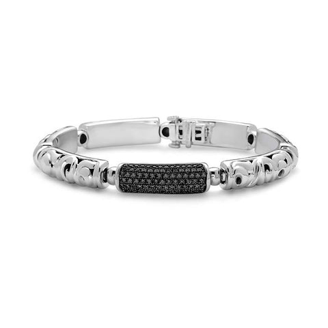 "Charles Krypell 1.13CTW Black Sapphire Ball Bearing ""Pave Collection"" Lds Link Bracelet in Sterling Silver and 14K White Gold"