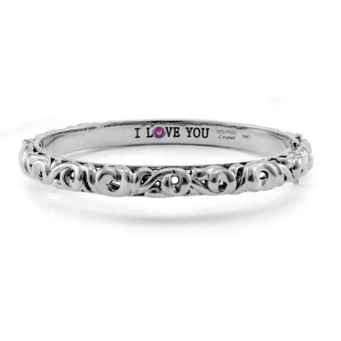 Charles Krypell I Love You Collection Sterling Silver Bangle Bracelet with Pink Sapphire