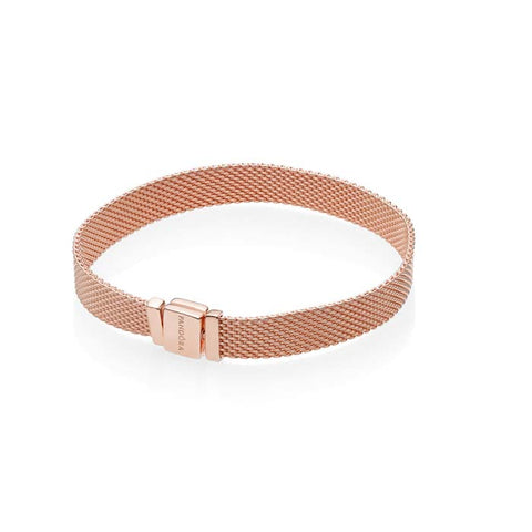 "Pandora 7.1"" Reflexions Bracelet in Pandora Rose - 7MM wide mesh bracelet with flat snap clasp 587712-18"