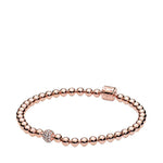 "Pandora 8.3"" Beads and Pave Bracelet in PANDORA Rose with Round Center Station of Pave Set Clear CZS, Snap Clasp 588342CZ-21"