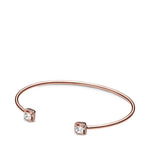 "Pandora 6.9"" Square Sparkle Open Bangle in Pandora Rose - 588508C01-2"