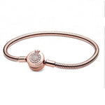 "6.7"" Pandora Moments Sparkling Crown O Snake Chain Bracelet in Pandora Rose with Clear CZ - 589046C01-17"