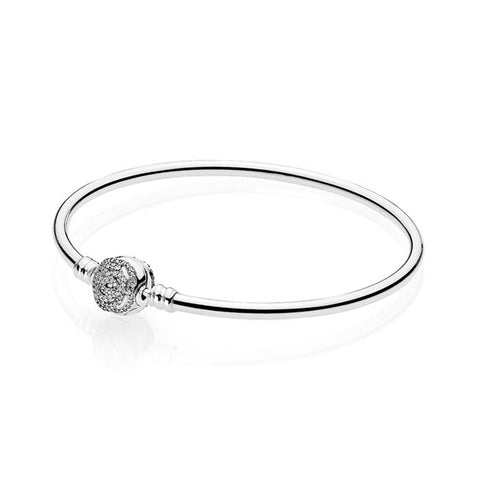 "Pandora 8.3"" Beauty & the Beast Rose Clasp Bangle Bracelet Sterling Silver with engraving ""True Beauty is Found Within"" 590748CZ-21"