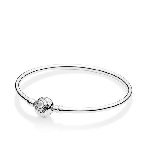 "Pandora 7.5"" Disney Princess Jasmine & Aladdin Clasp Bangle Bracelet in Sterling Silver 598037CZ-19"
