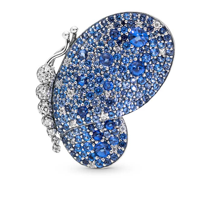 Pandora Sterling Siiver Dazzling Blue Butterfly Pendant Brooch with Royal Blue Crystals 697996NCB