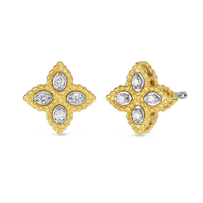 Roberto Coin .10CT Flower Earrings in 18K Yellow Gold