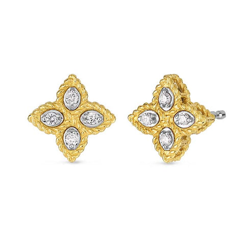 Roberto Coin .07CT Flower Earrings in 18K Yellow Gold