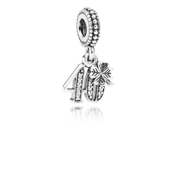 Pandora 40 Years of Love Dangle Charm w/ 4-Leaf Clover, ClearCZ Sterling Silver 791288CZ