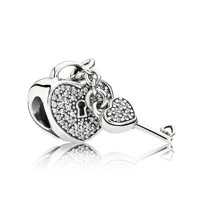 Pandora Lock of Love Clear CZ Charm Sterling Silver 791429CZ
