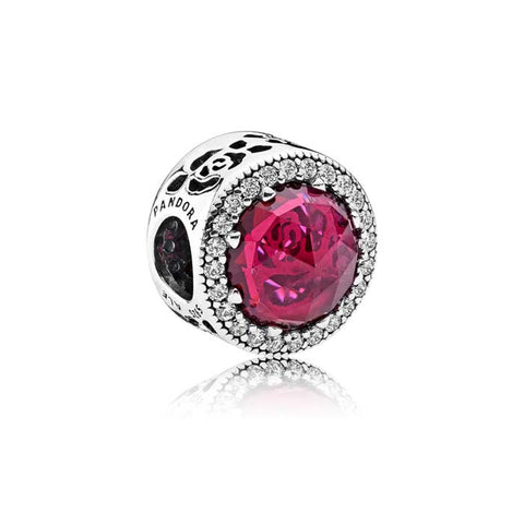 Pandora Disney Belle's Radiant Rose Charm in Sterling Silver with Cerise Crystal and CZs in Sterling Silver 792140NCC