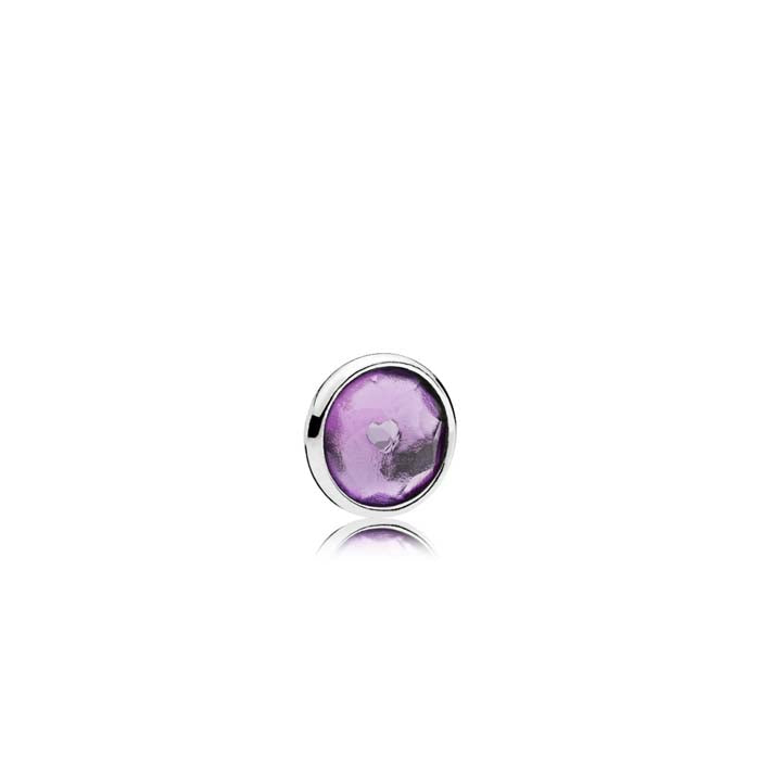 Pandora February element in sterling silver with 1 bezel-set flower dome-cut synthetic amethyst  792175SAM