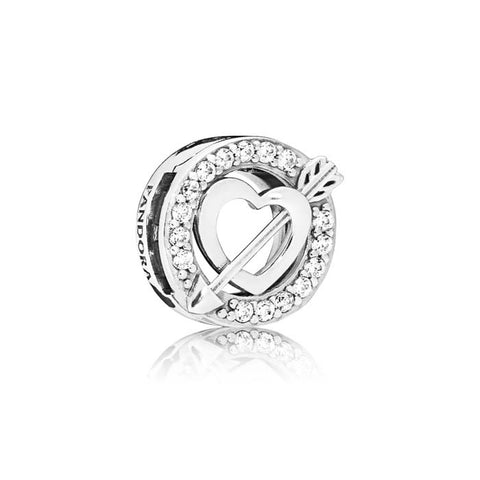 Pandora Asymmetric Heart & Arrow Reflexions Clip Charm in Sterling Silver 797793CZ