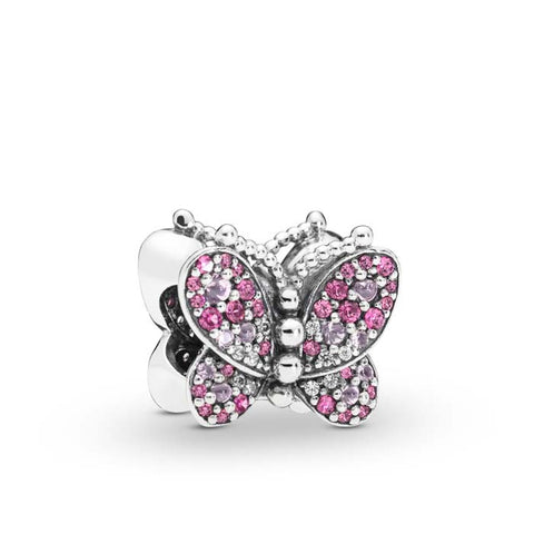 Pandora Dazzling Pink Butterfly Charm in Sterling Silver with CZ 797882NCCMX