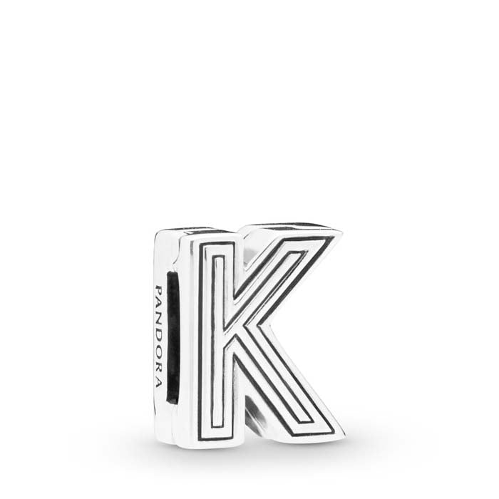Pandora Reflexions Letter K Clip Charm in Sterling Silver