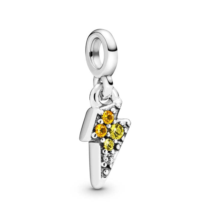 "Pandora Me ""My Powerful Light"" Lightning Bolt Dangle Charm with Blaze Yellow, Golden Orange and Clear Crystal CZ 798374NBYMX"