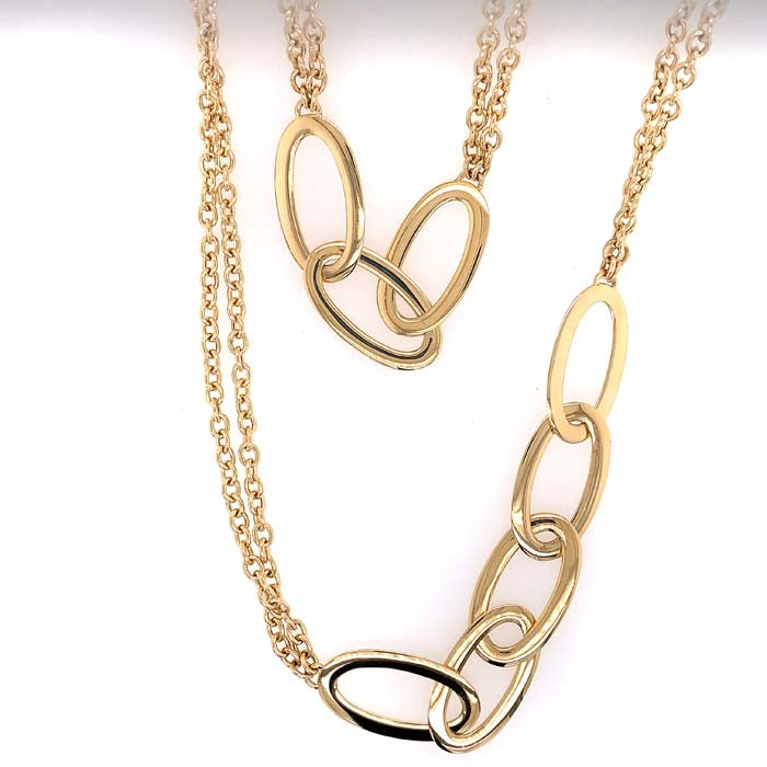 "Antonio Papini 31.5"" Double Chain Necklace with Asymetrical Ovals Stations in 18K Yellow Gold"