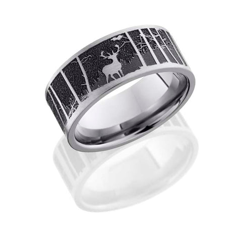 Lashbrook Mens 9mm Titanium Wedding Band with Carved Elk and Mountain Patterm