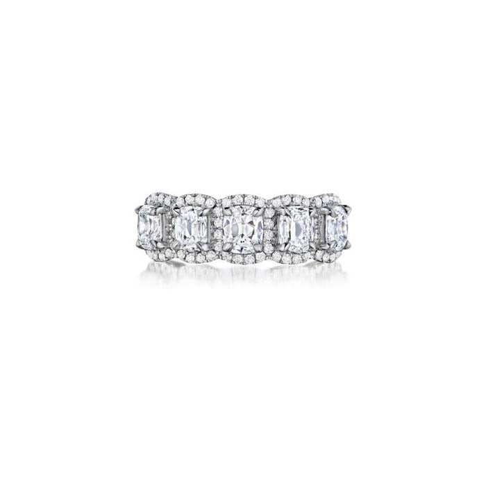 Henri Daussi Five Cushion Diamond with Halo Design Band in 18K White Gold