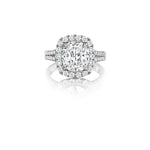 Henri Daussi Cushion Shaped Halo Split-Shank Engagement Ring with .58CT Cushion Diamond in Center and .69TW Accent Diamonds in 18K White Gold