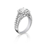 Henri Daussi 1.49TW Cushion Halo Split Shank Engagement Ring with .57CT Cushion Cut Diamond Center in 18K White Gold