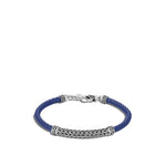 John Hardy Classic Chain Sterling Silver and Blue Woven Leather Station Bracelet