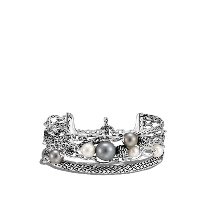 John Hardy Classic Chain Multi Row Sterling Silver Pearl Toggle Bracelet