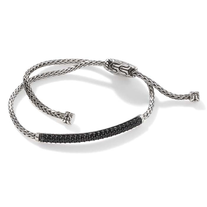 John Hardy Classic Chain Pull Through Bracelet with Black Sapphire/Spinel in Sterling Silver