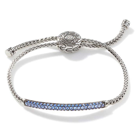 John Hardy Blue Sapphire Classic Chain Pull Through Bracelet in Sterling Silver