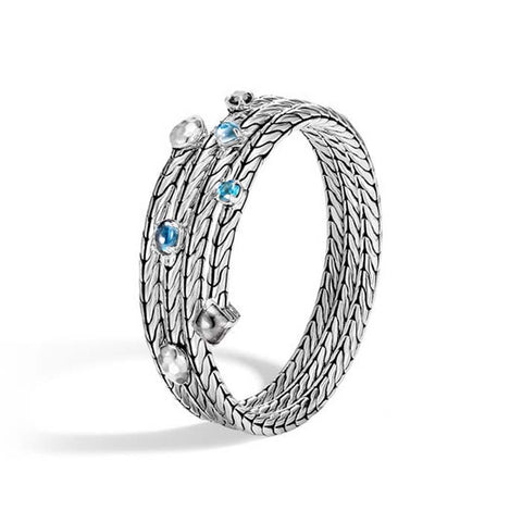 John Hardy Triple Row Coil Bracelet with London Blue Topaz, Swiss Blue Topaz, Hematite and Silver Calcite in Sterling Silver